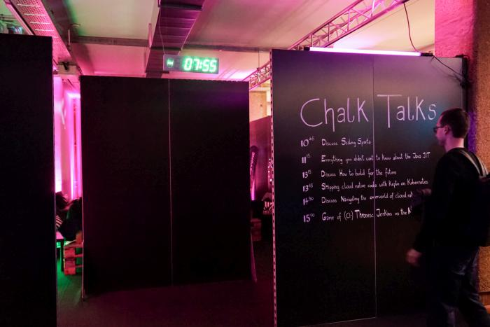 The entrance to the chalk talks area