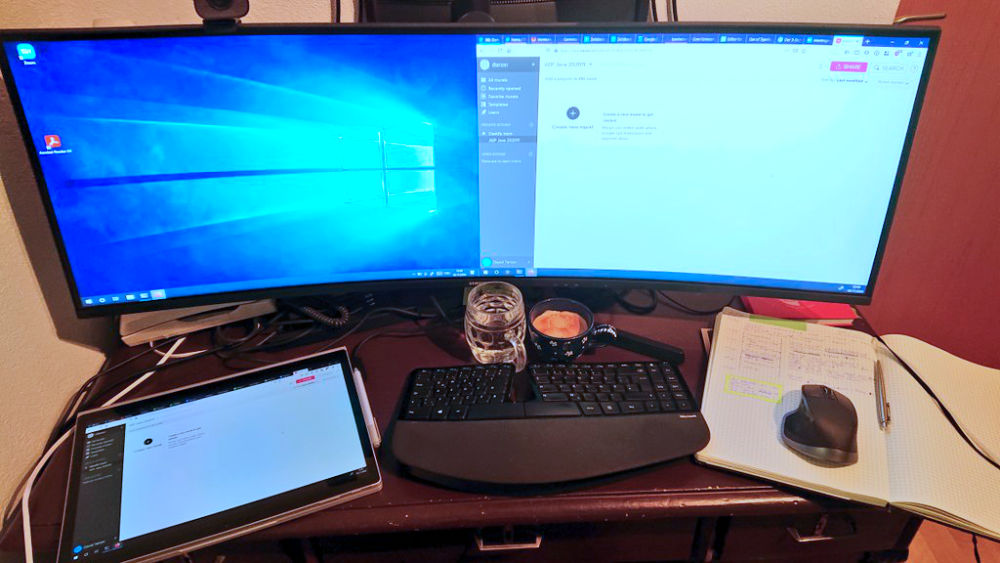Laptop, screen and screen setup, keyboard, ...